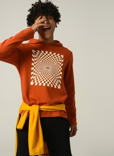 People By Fabrika Erkek kapüşonlu Yaka Baskılı Sweatshirt PFESS21SW0022 Oranj